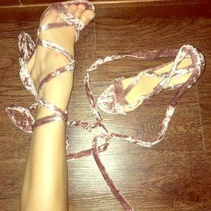 Crushed Velvet Tie-Up Heels (in Pink!)